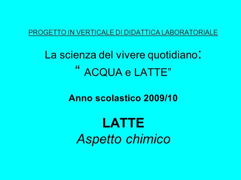 PROGETTO IN VERTICALE DI DIDATTICA LABORATORIALE La scienza del vivere quotidiano : ACQUA e LATTE Anno scolastico 2009/10 LATTE Aspetto chimico