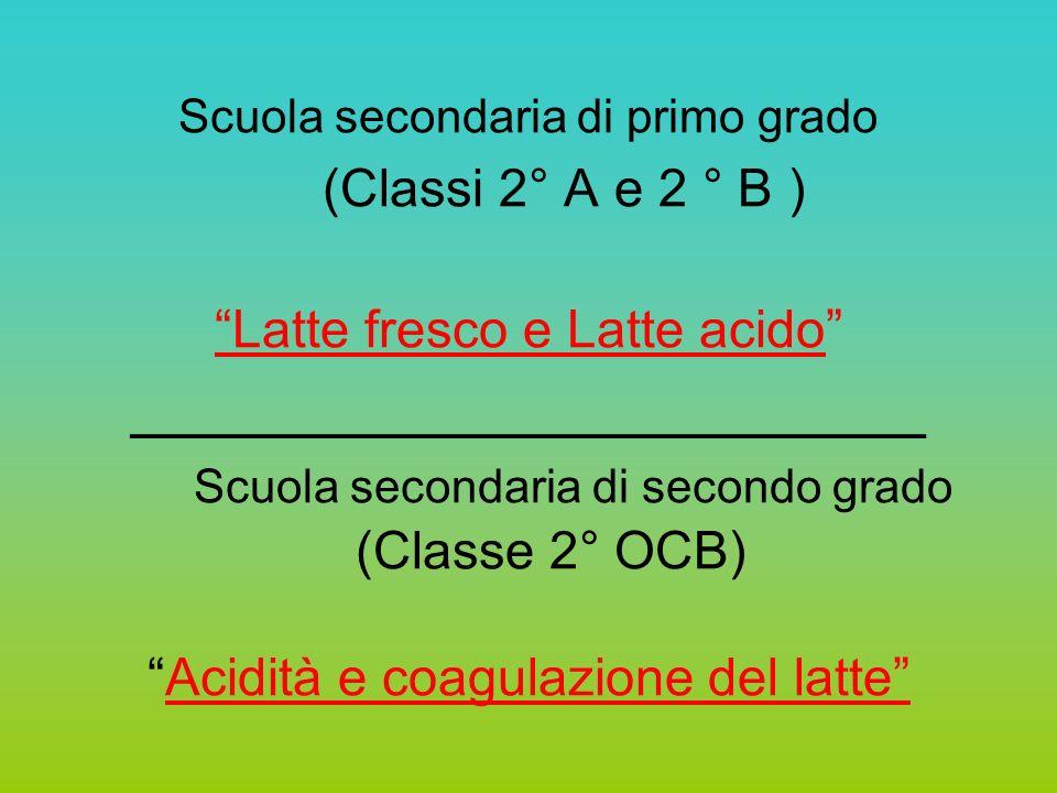Scuola secondaria di primo grado (Classi 2° A e 2 ° B ) Latte fresco e Latte acido ______________________ Scuola secondaria di secondo grado (Classe 2