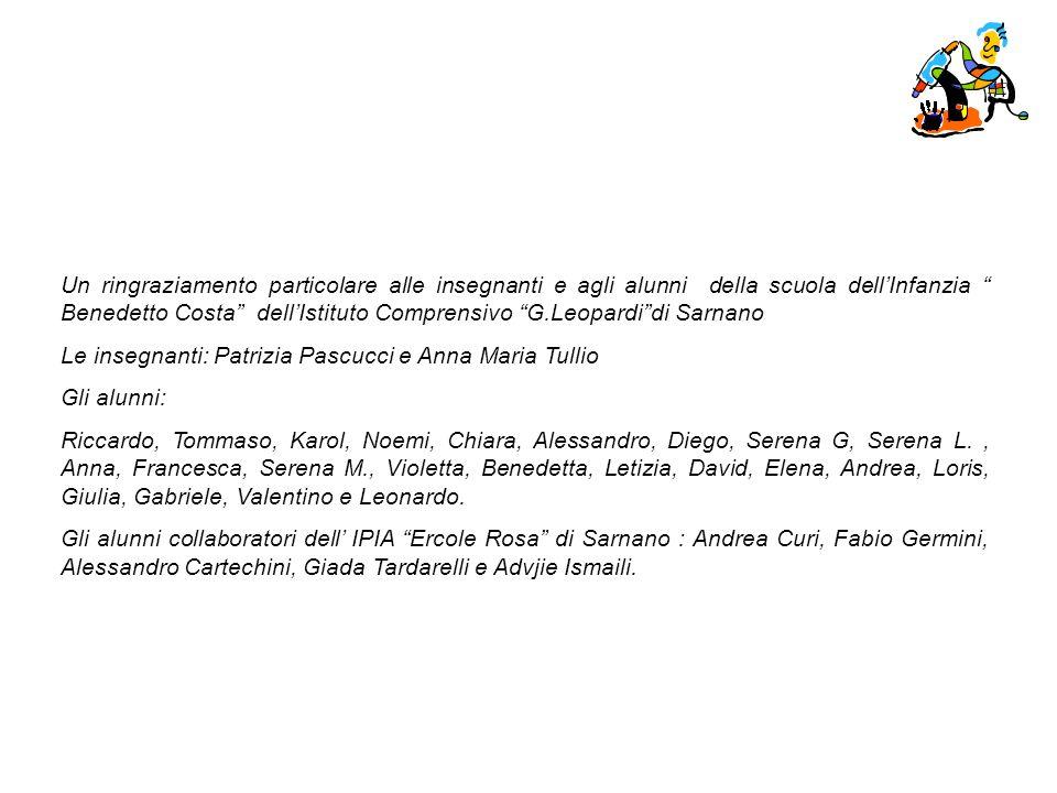 Un ringraziamento particolare alle insegnanti e agli alunni della scuola dellInfanzia Benedetto Costa dellIstituto Comprensivo G.Leopardidi Sarnano Le