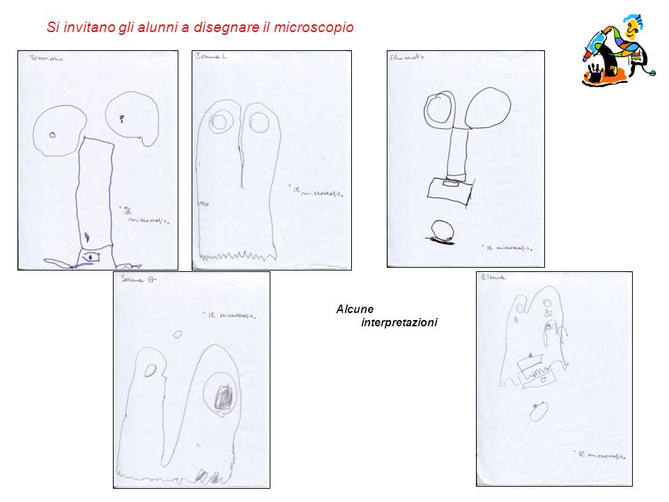 Si invitano gli alunni a disegnare il microscopio Alcune interpretazioni