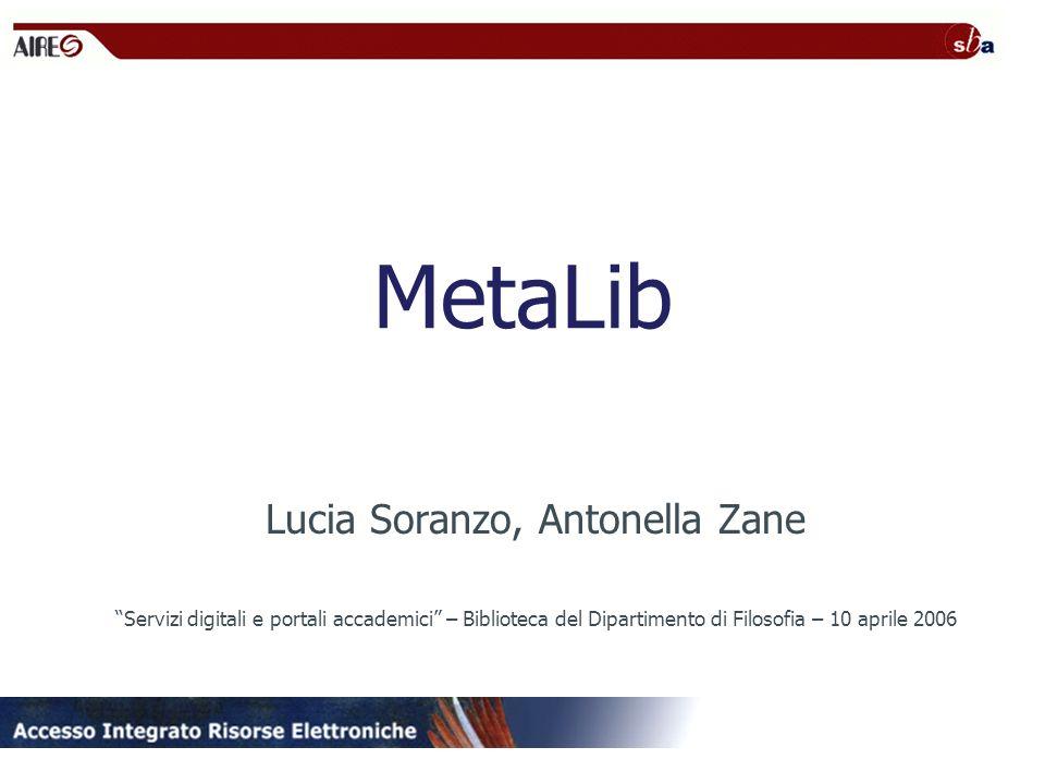 MetaLib Lucia Soranzo, Antonella Zane Servizi digitali e portali accademici – Biblioteca del Dipartimento di Filosofia – 10 aprile 2006