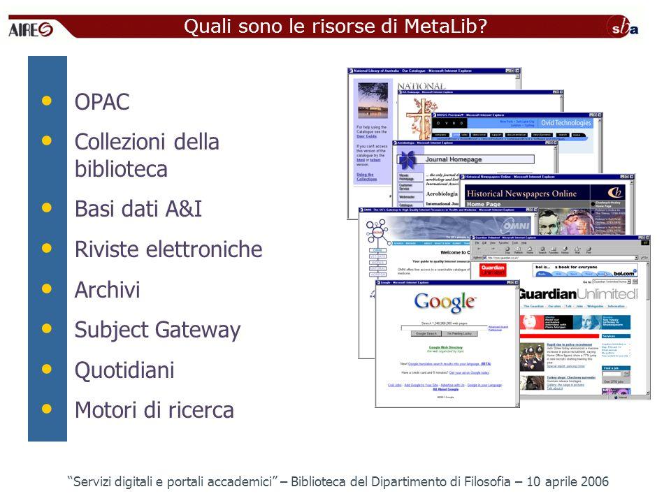 Quali sono le risorse di MetaLib? OPAC Collezioni della biblioteca Basi dati A&I Riviste elettroniche Archivi Subject Gateway Quotidiani Motori di ric