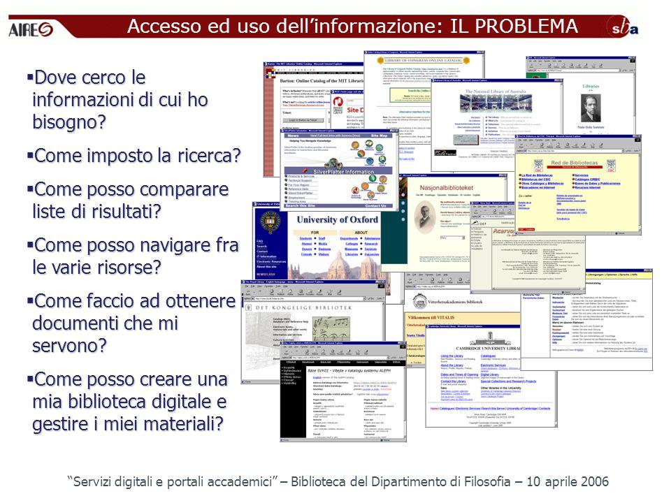 Accesso ed uso dellinformazione: IL PROBLEMA Dove cerco le informazioni di cui ho bisogno? Dove cerco le informazioni di cui ho bisogno? Come imposto