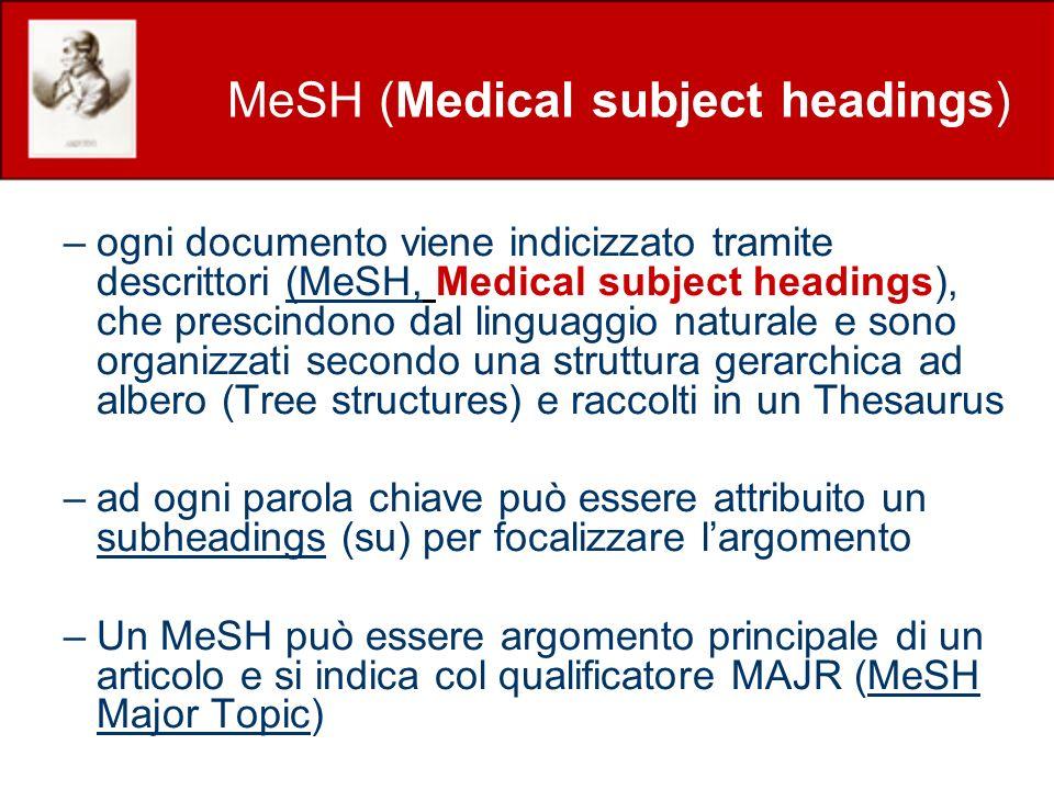 MeSH (Medical subject headings) –ogni documento viene indicizzato tramite descrittori (MeSH, Medical subject headings), che prescindono dal linguaggio