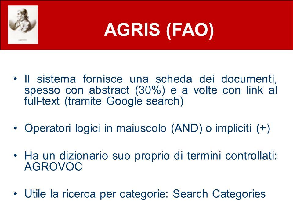 Il sistema fornisce una scheda dei documenti, spesso con abstract (30%) e a volte con link al full-text (tramite Google search) Operatori logici in ma