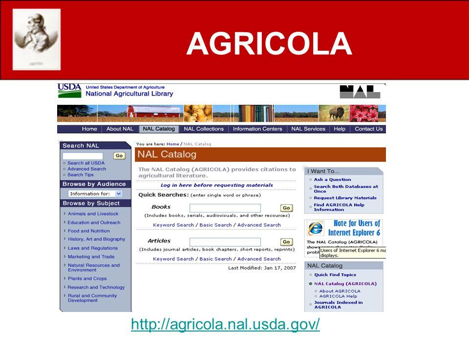 http://agricola.nal.usda.gov/ AGRICOLA