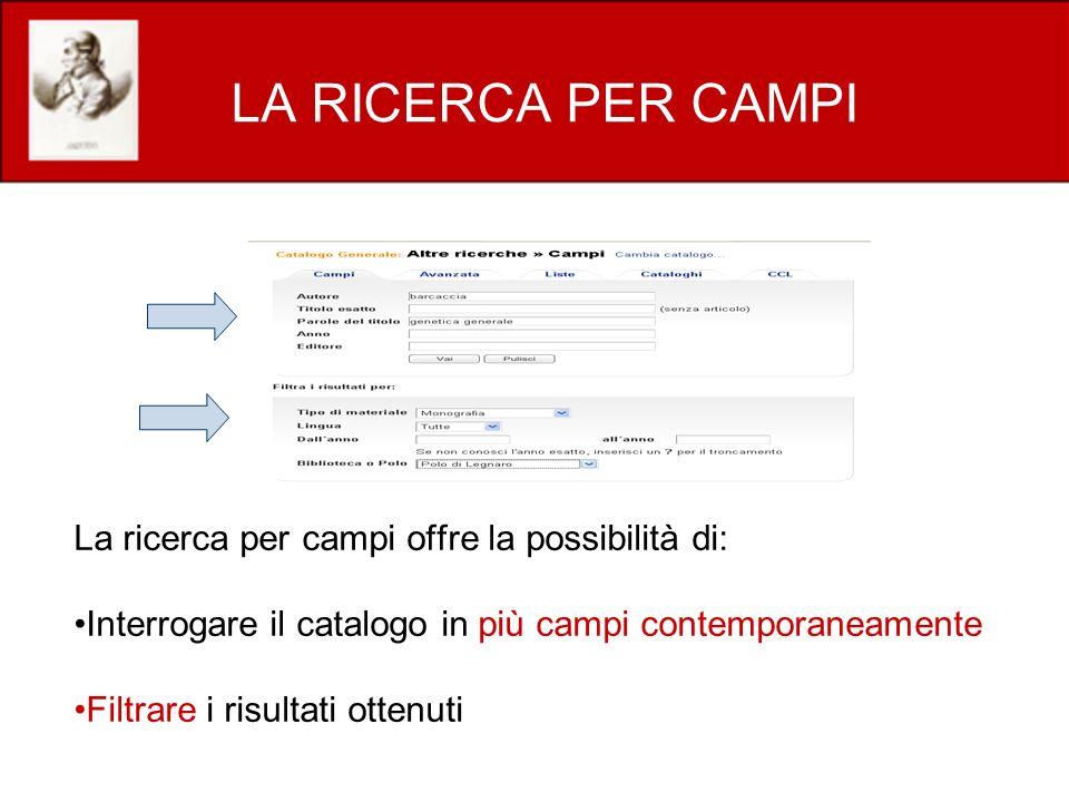 LA RICERCA PER CAMPI La ricerca per campi offre la possibilità di: Interrogare il catalogo in più campi contemporaneamente Filtrare i risultati ottenuti