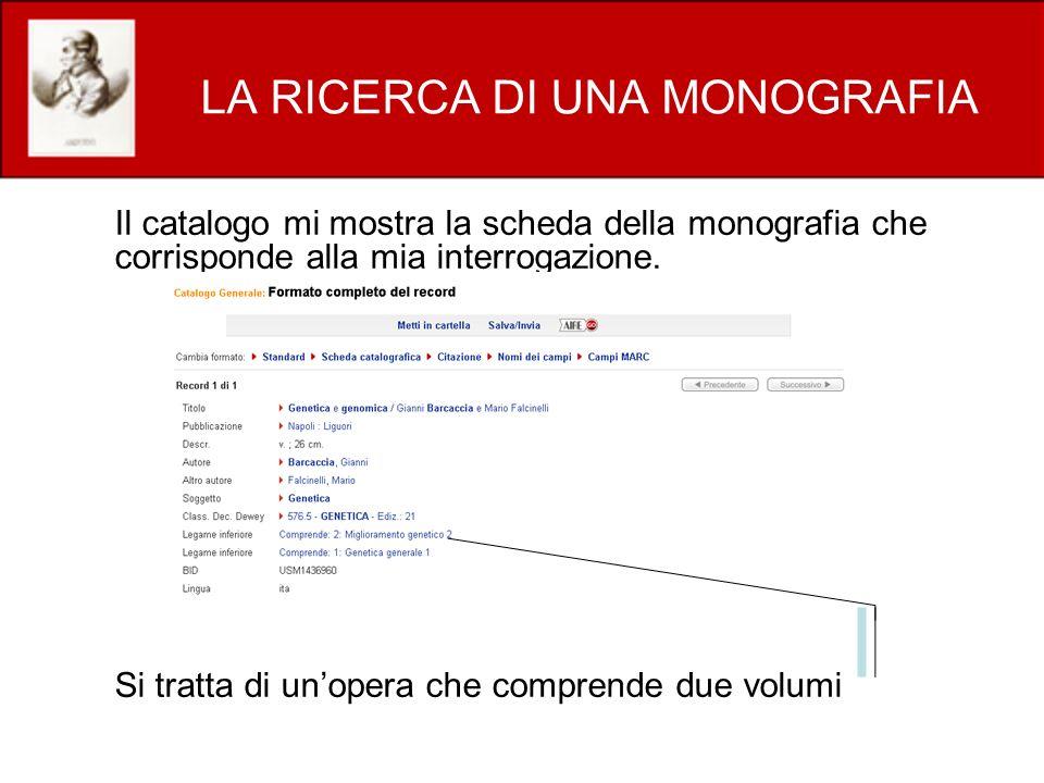 LA RICERCA DI UNA MONOGRAFIA Il catalogo mi mostra la scheda della monografia che corrisponde alla mia interrogazione.
