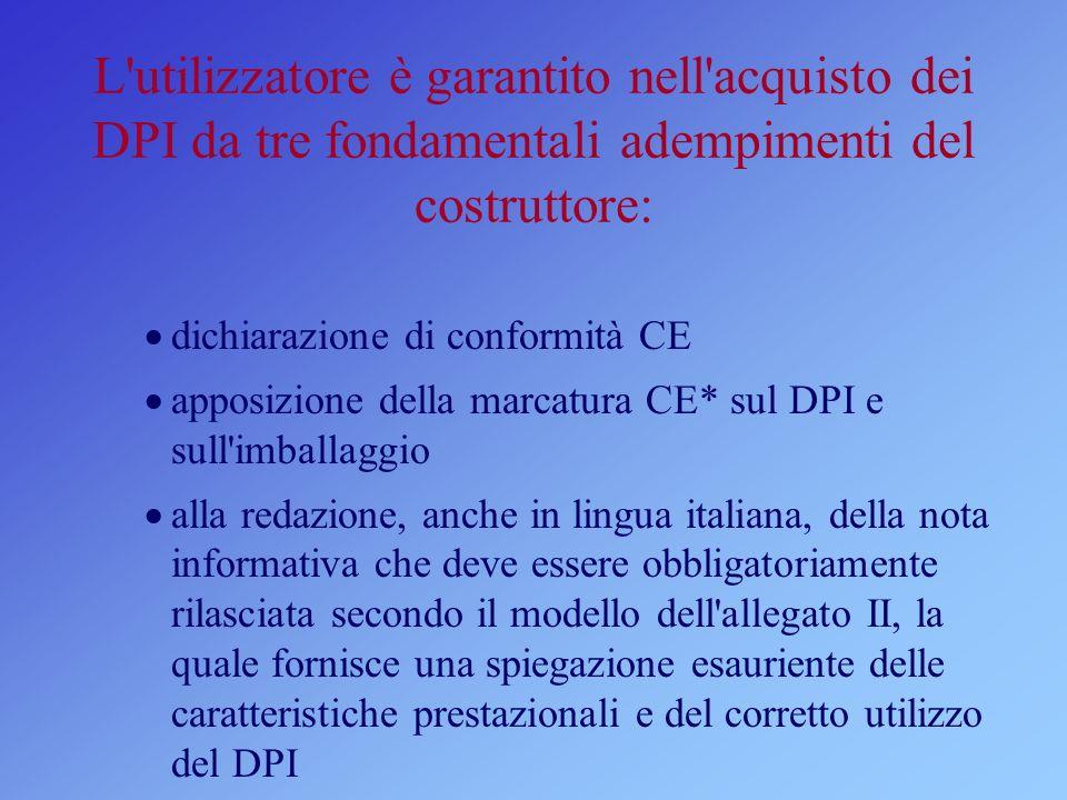 L'utilizzatore è garantito nell'acquisto dei DPI da tre fondamentali adempimenti del costruttore: dichiarazione di conformità CE apposizione della mar