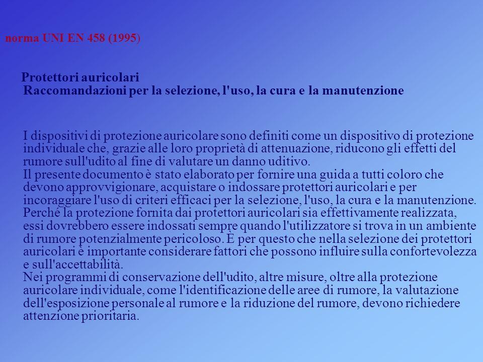 norma UNI EN 458 (1995) Protettori auricolari Raccomandazioni per la selezione, l'uso, la cura e la manutenzione I dispositivi di protezione auricolar