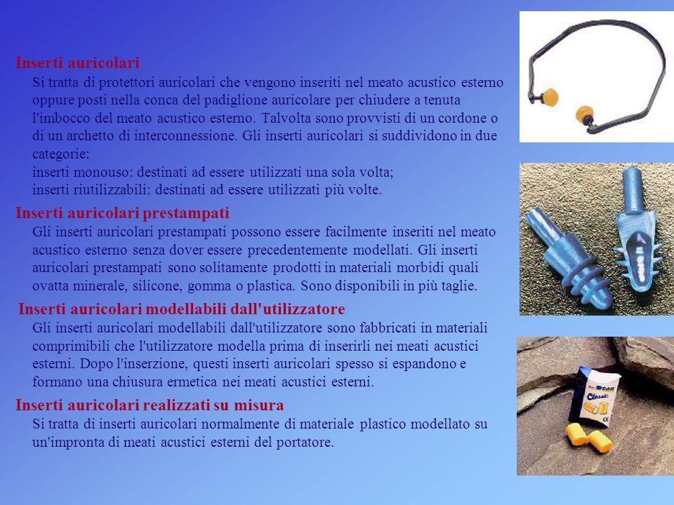 Inserti auricolari Si tratta di protettori auricolari che vengono inseriti nel meato acustico esterno oppure posti nella conca del padiglione auricolare per chiudere a tenuta l imbocco del meato acustico esterno.