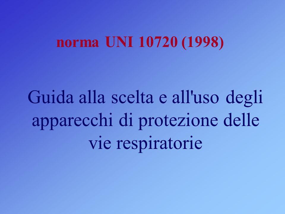 norma UNI 10720 (1998) Guida alla scelta e all'uso degli apparecchi di protezione delle vie respiratorie