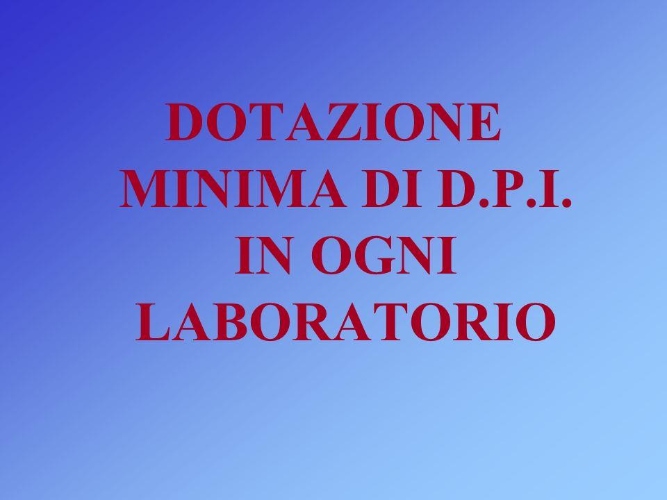 DOTAZIONE MINIMA DI D.P.I. IN OGNI LABORATORIO