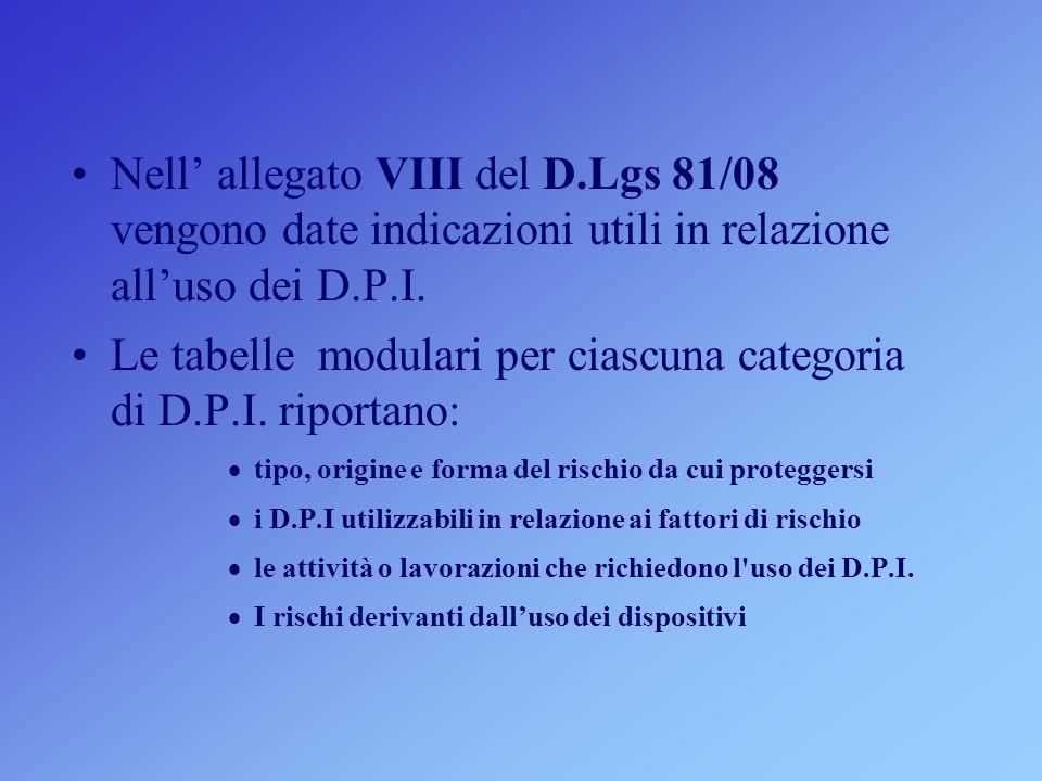 Nell allegato VIII del D.Lgs 81/08 vengono date indicazioni utili in relazione alluso dei D.P.I. Le tabelle modulari per ciascuna categoria di D.P.I.