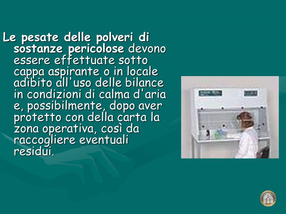 Le pesate delle polveri di sostanze pericolose devono essere effettuate sotto cappa aspirante o in locale adibito all'uso delle bilance in condizioni