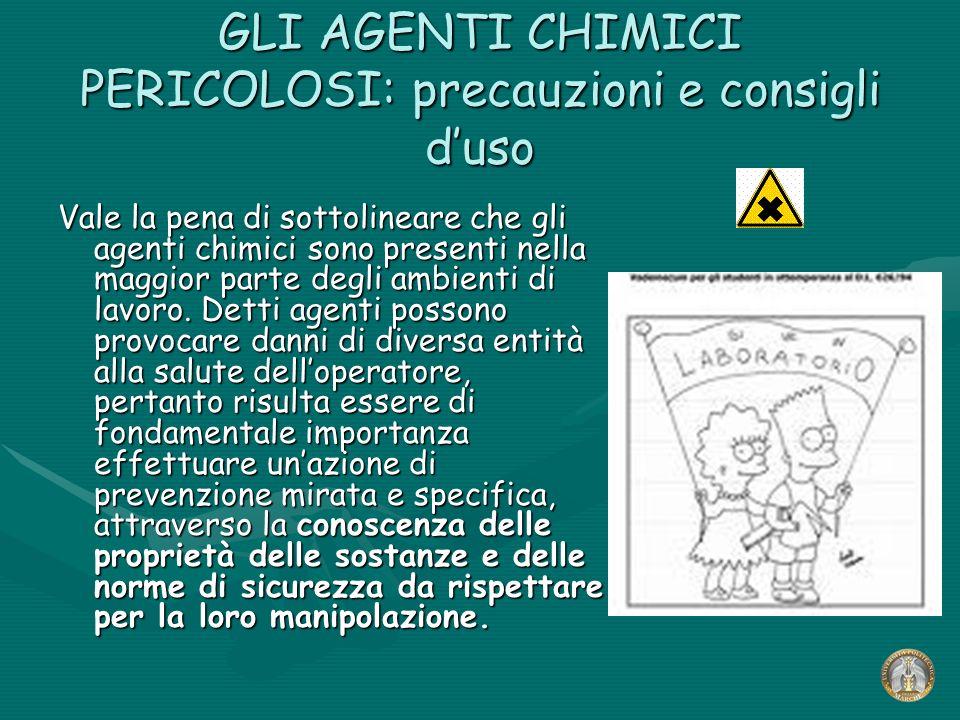 GLI AGENTI CHIMICI PERICOLOSI: precauzioni e consigli duso Vale la pena di sottolineare che gli agenti chimici sono presenti nella maggior parte degli