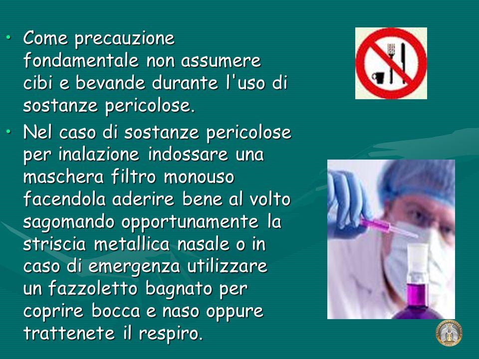 Come precauzione fondamentale non assumere cibi e bevande durante l'uso di sostanze pericolose.Come precauzione fondamentale non assumere cibi e bevan