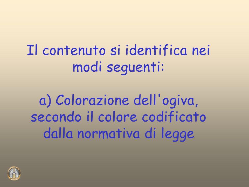 Il contenuto si identifica nei modi seguenti: a) Colorazione dell'ogiva, secondo il colore codificato dalla normativa di legge