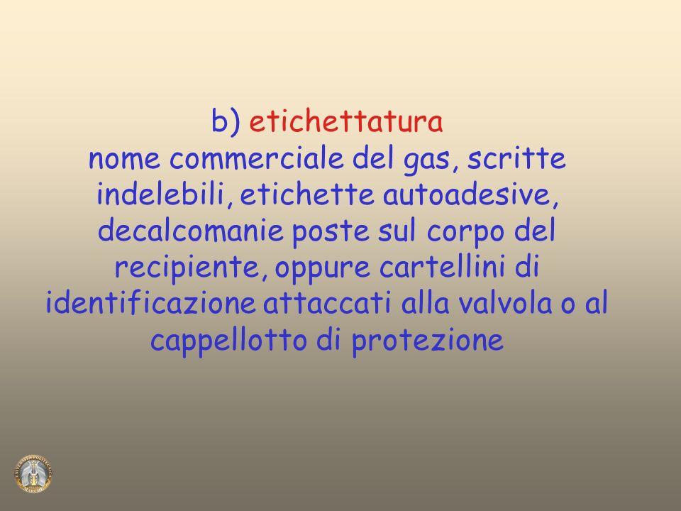 b) etichettatura nome commerciale del gas, scritte indelebili, etichette autoadesive, decalcomanie poste sul corpo del recipiente, oppure cartellini d