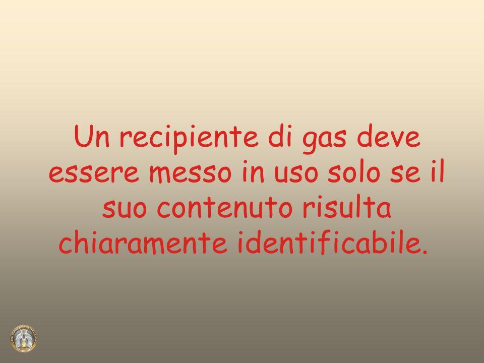 Un recipiente di gas deve essere messo in uso solo se il suo contenuto risulta chiaramente identificabile.