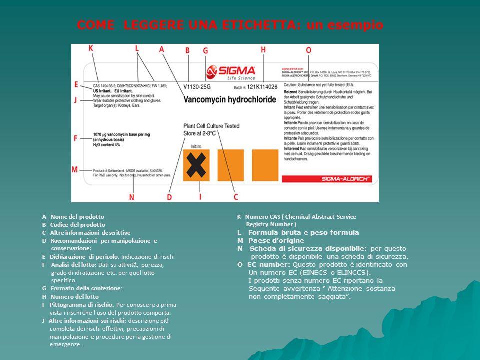 COME LEGGERE UNA ETICHETTA: un esempio A Nome del prodotto B Codice del prodotto C Altre informazioni descrittive D Raccomandazioni per manipolazione