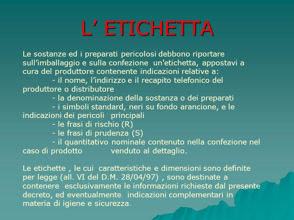 L ETICHETTA Le sostanze ed i preparati pericolosi debbono riportare sullimballaggio e sulla confezione unetichetta, appostavi a cura del produttore co