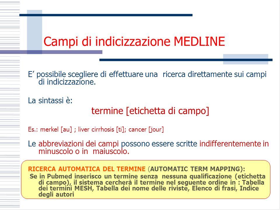 Campi di indicizzazione MEDLINE E possibile scegliere di effettuare una ricerca direttamente sui campi di indicizzazione.