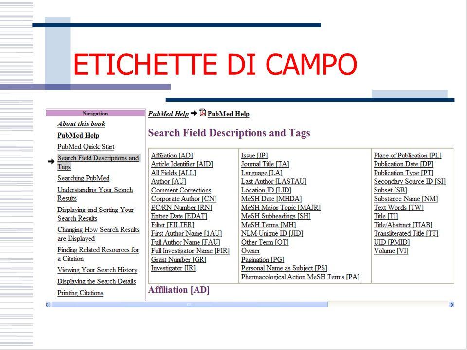 ETICHETTE DI CAMPO