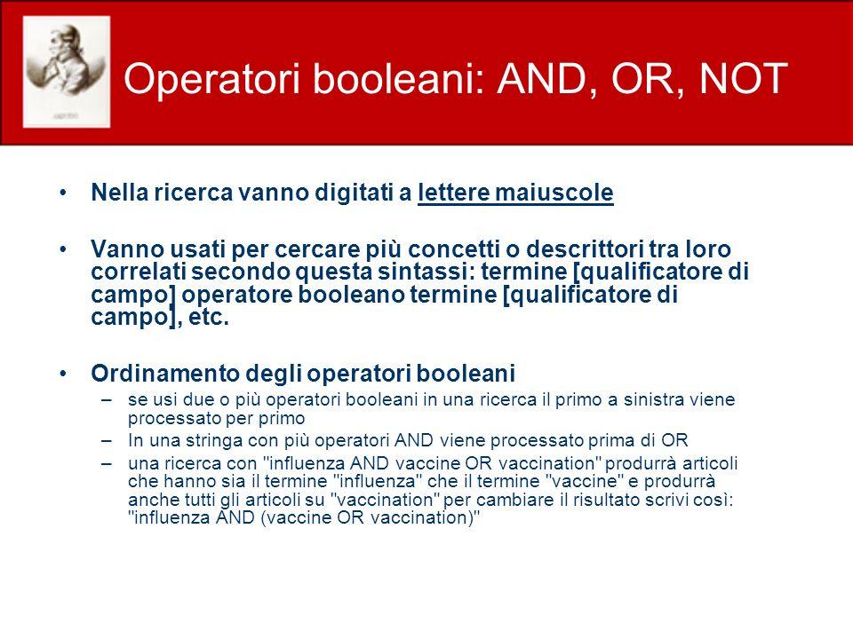 Operatori booleani: AND, OR, NOT Nella ricerca vanno digitati a lettere maiuscole Vanno usati per cercare più concetti o descrittori tra loro correlat