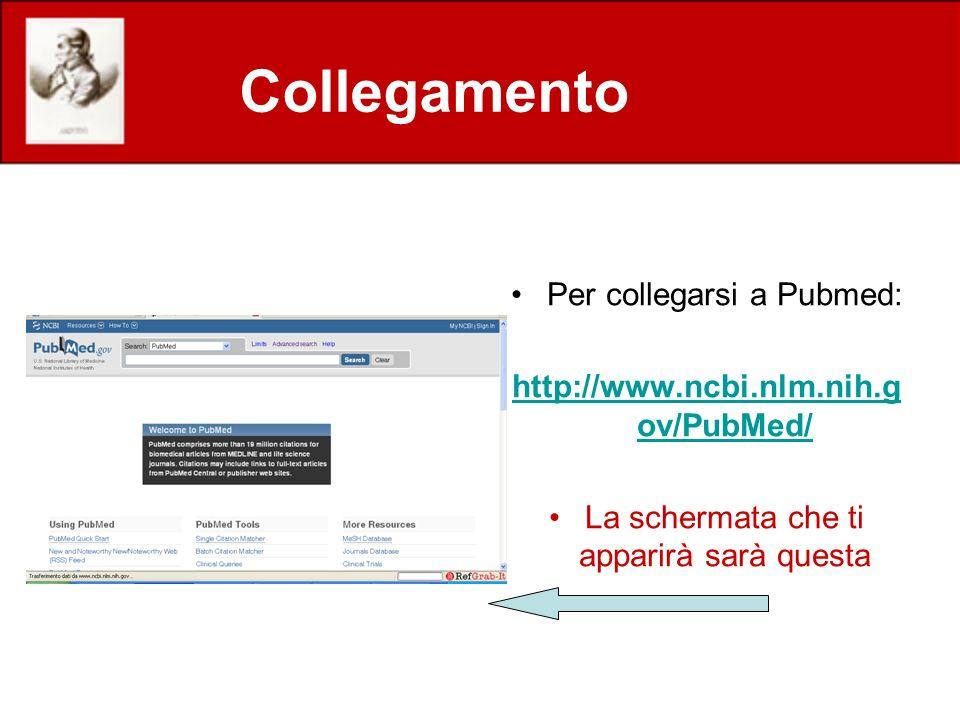 Collegamento Per collegarsi a Pubmed: http://www.ncbi.nlm.nih.g ov/PubMed/ La schermata che ti apparirà sarà questa