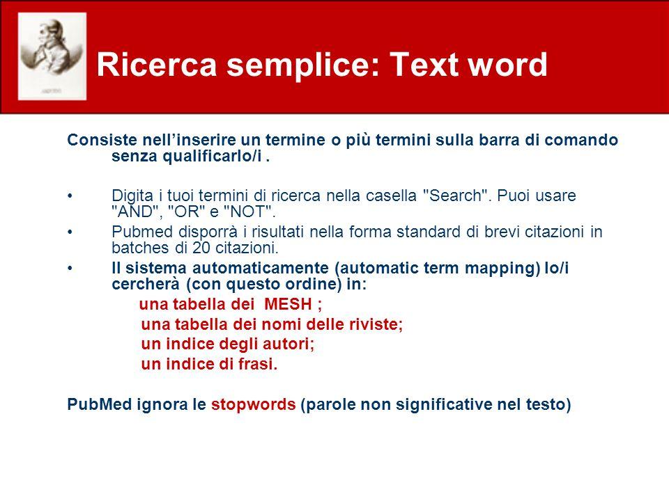 Consiste nellinserire un termine o più termini sulla barra di comando senza qualificarlo/i. Digita i tuoi termini di ricerca nella casella