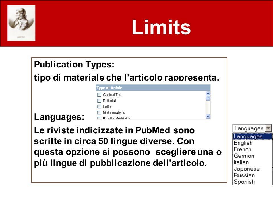 Limits Publication Types: tipo di materiale che l'articolo rappresenta. Languages: Le riviste indicizzate in PubMed sono scritte in circa 50 lingue di