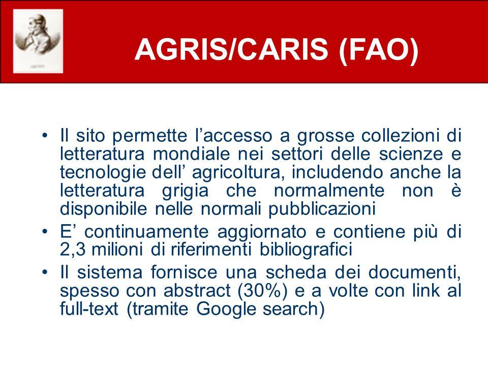 Il sito permette laccesso a grosse collezioni di letteratura mondiale nei settori delle scienze e tecnologie dell agricoltura, includendo anche la let