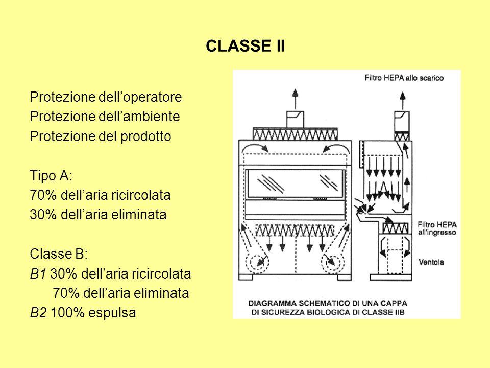 CLASSE II Protezione delloperatore Protezione dellambiente Protezione del prodotto Tipo A: 70% dellaria ricircolata 30% dellaria eliminata Classe B: B