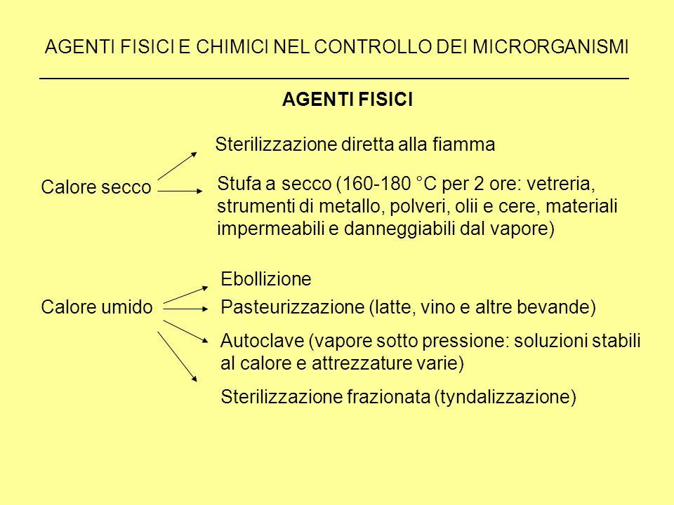 AGENTI FISICI E CHIMICI NEL CONTROLLO DEI MICRORGANISMI Calore secco AGENTI FISICI Sterilizzazione diretta alla fiamma Stufa a secco (160-180 °C per 2