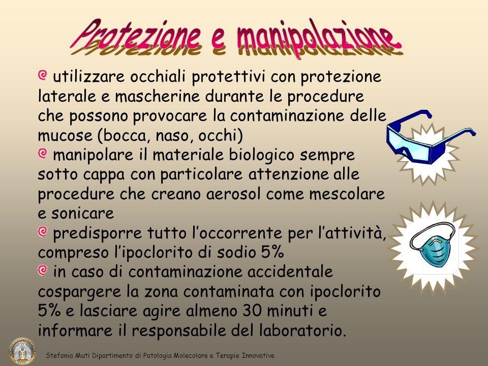 Stefania Muti Dipartimento di Patologia Molecolare e Terapie Innovative utilizzare occhiali protettivi con protezione laterale e mascherine durante le