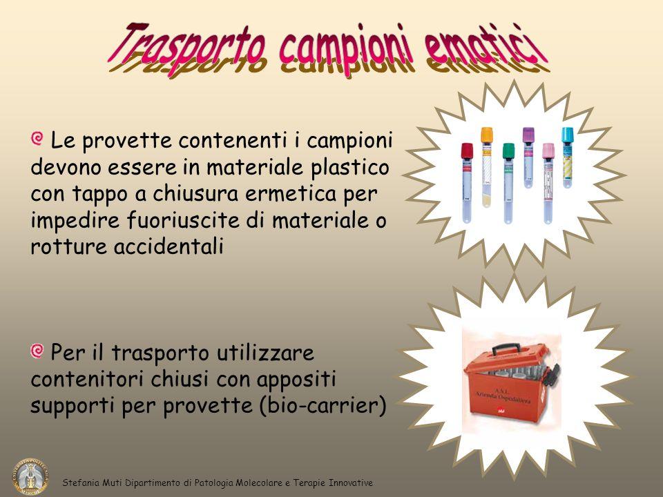 Le provette contenenti i campioni devono essere in materiale plastico con tappo a chiusura ermetica per impedire fuoriuscite di materiale o rotture ac
