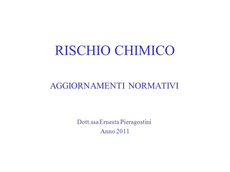 RISCHIO CHIMICO AGGIORNAMENTI NORMATIVI Dott.ssa Ernesta Pieragostini Anno 2011