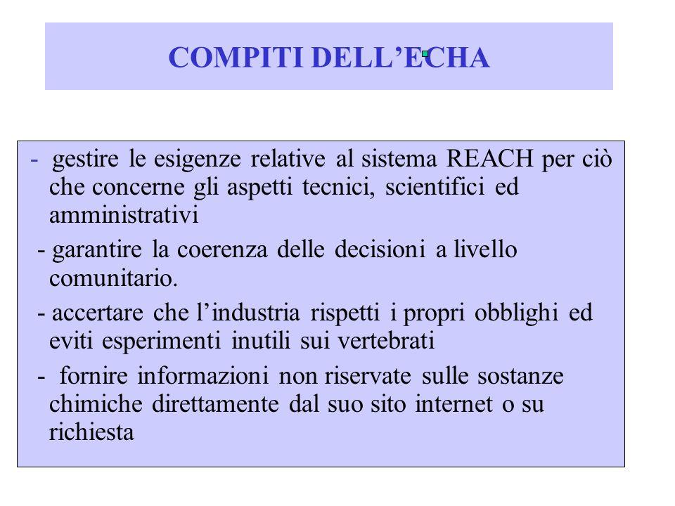 COMPITI DELLECHA - gestire le esigenze relative al sistema REACH per ciò che concerne gli aspetti tecnici, scientifici ed amministrativi - garantire l