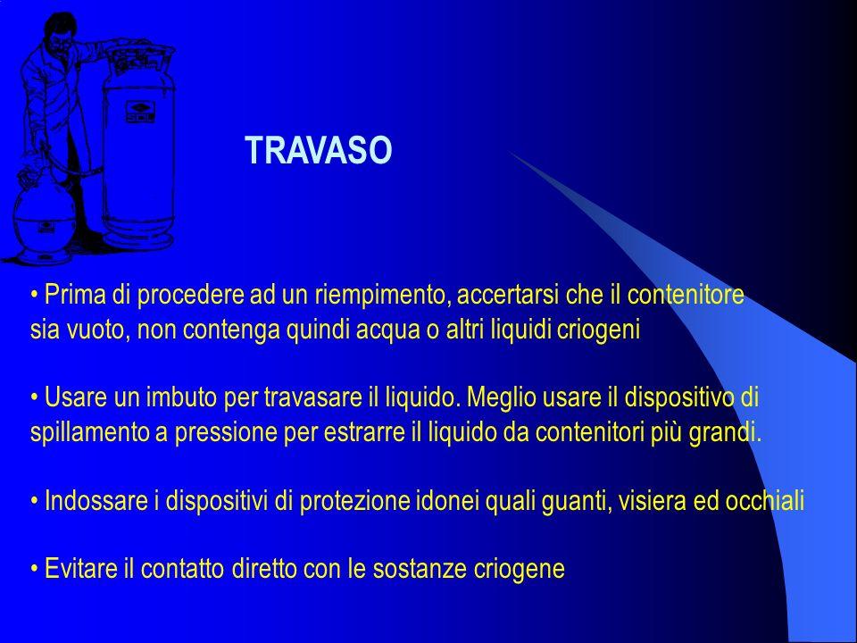 TRAVASO Prima di procedere ad un riempimento, accertarsi che il contenitore sia vuoto, non contenga quindi acqua o altri liquidi criogeni Usare un imb