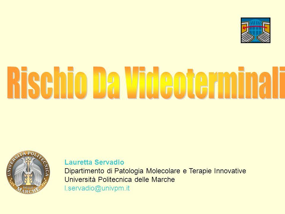 Il lavoro al videoterminale 1.Criteri generali di sicurezza 2.Effetti sulla salute 3.Indicazioni comportamentali per la prevenzione Luso di attrezzature munite di videoterminali (VDT) è disciplinato in Italia dal Decreto Legislativo n.