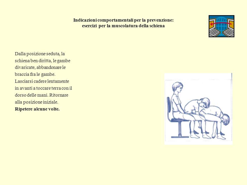 Indicazioni comportamentali per la prevenzione: esercizi per la muscolatura della schiena Dalla posizione seduta, la schiena ben diritta, le gambe div