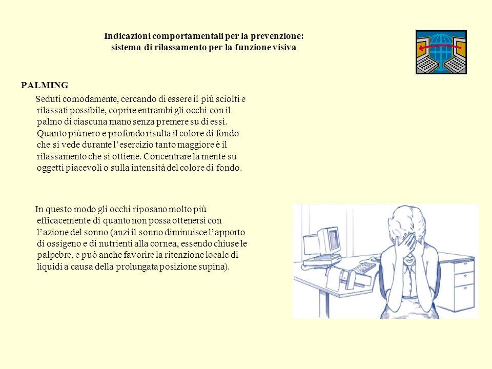Indicazioni comportamentali per la prevenzione: sistema di rilassamento per la funzione visiva PALMING Seduti comodamente, cercando di essere il più s