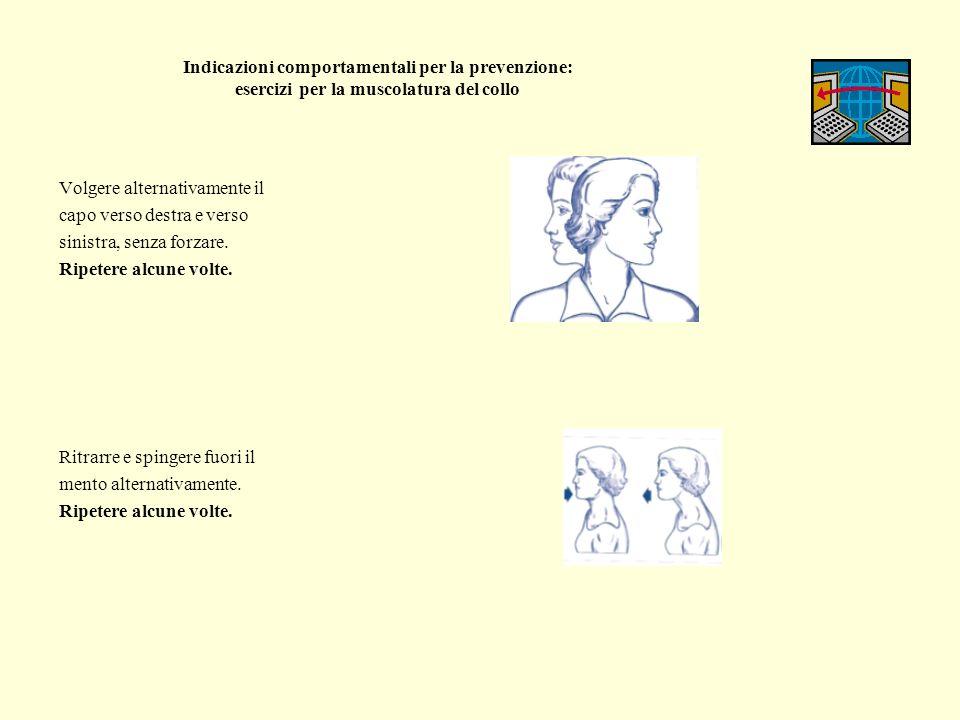Indicazioni comportamentali per la prevenzione: esercizi per la muscolatura delle spalle Dalla posizione seduta portare una mano fra le scapole, tenendo ben in alto il gomito, aumentando lo stiramento con laltra mano sul capo.