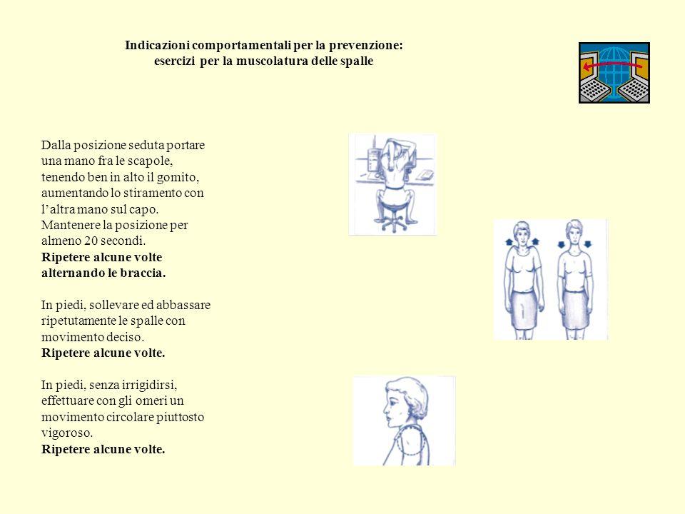 Indicazioni comportamentali per la prevenzione: esercizi per la muscolatura della schiena Dalla posizione seduta, la schiena ben diritta, le gambe divaricate, abbandonare le braccia fra le gambe.