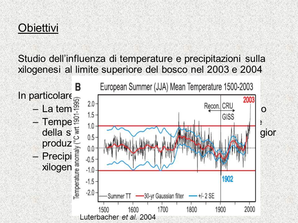 Obiettivi Studio dellinfluenza di temperature e precipitazioni sulla xilogenesi al limite superiore del bosco nel 2003 e 2004 In particolare, ipotesi: