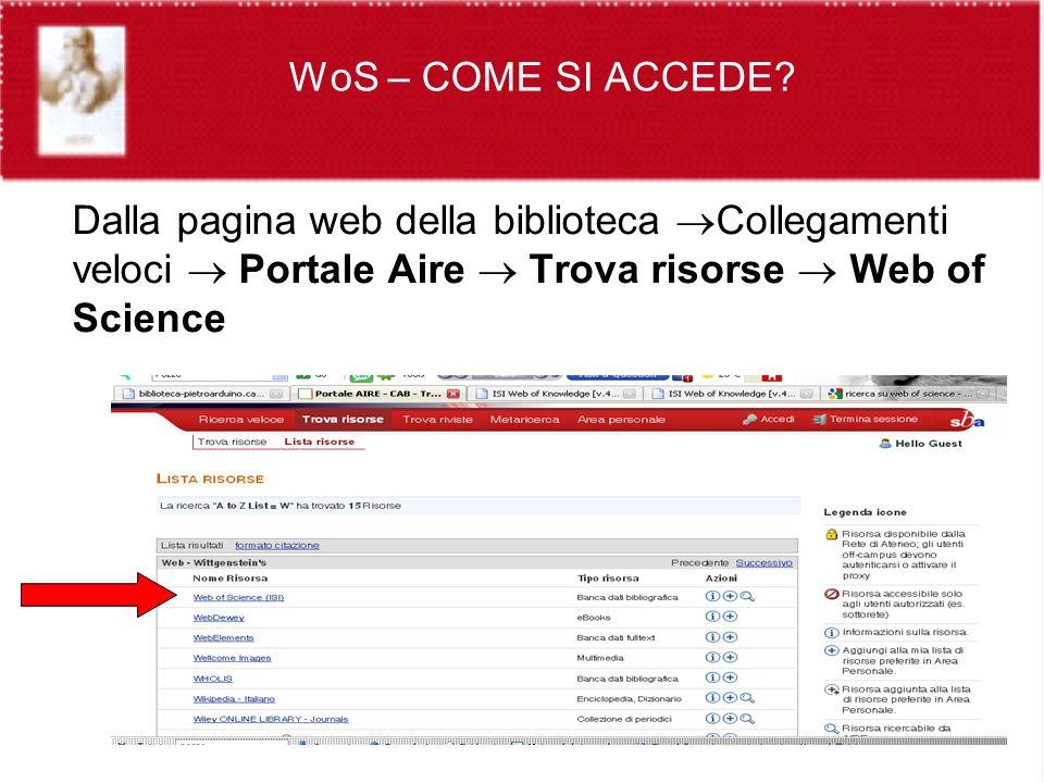 Dalla pagina web della biblioteca Collegamenti veloci Portale Aire Trova risorse Web of Science WoS – COME SI ACCEDE
