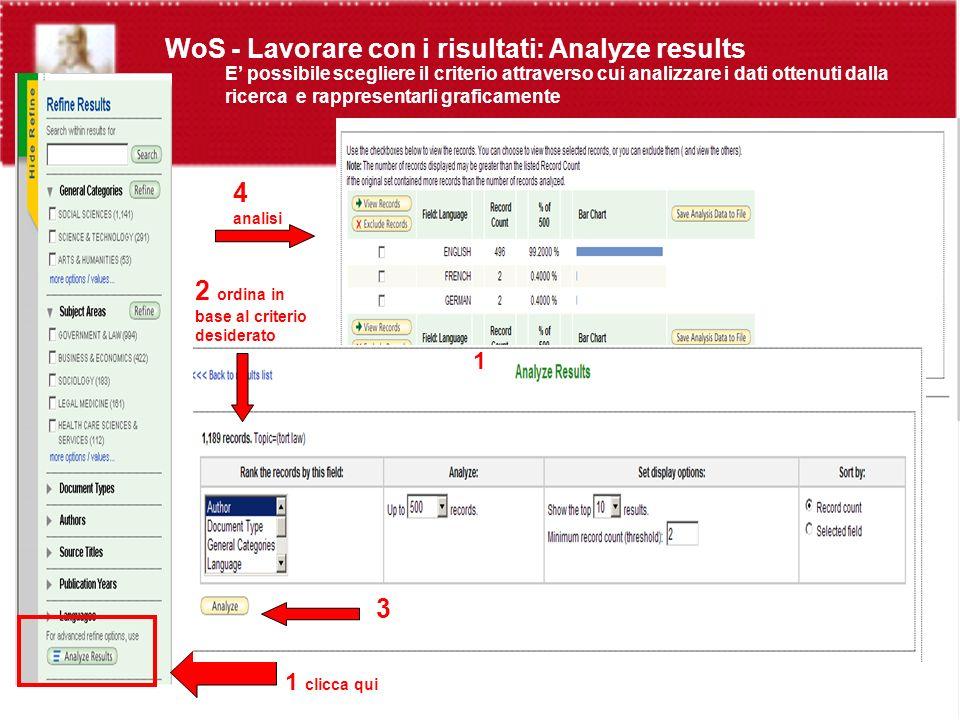 WoS - Lavorare con i risultati: Analyze results E possibile scegliere il criterio attraverso cui analizzare i dati ottenuti dalla ricerca e rappresentarli graficamente 1 clicca qui 2 ordina in base al criterio desiderato 3 4 analisi 1 3