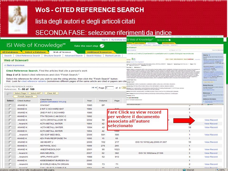 Fare Click su view record per vedere il documento associato allautore selezionato WoS - CITED REFERENCE SEARCH lista degli autori e degli articoli citati SECONDA FASE: selezione riferimenti da indice