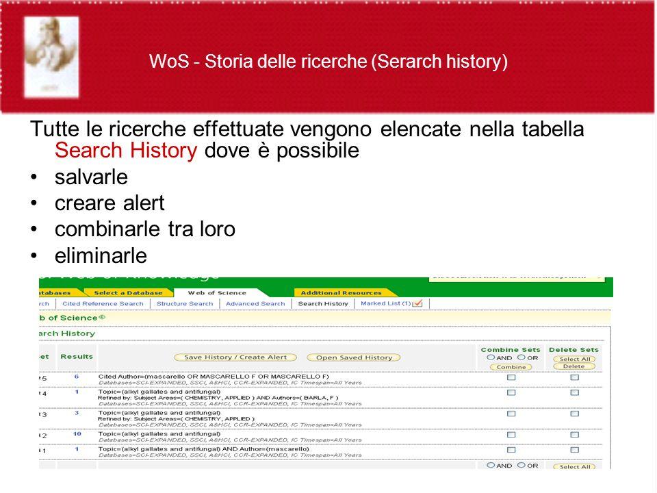 WoS - Storia delle ricerche (Serarch history) Tutte le ricerche effettuate vengono elencate nella tabella Search History dove è possibile salvarle creare alert combinarle tra loro eliminarle